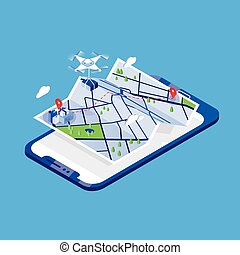 Drone carrying parcel and flying above paper city map and...