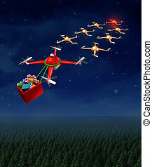 Drone christmas sled concept as group of organized drones in a reindeer sleigh formation with a santaclause flying quadrocopter delivering gifts.