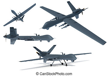 Drone - Composite renders of a 3D model of an unmanned...