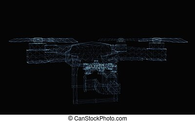 Drone concept consisting of luminous lines