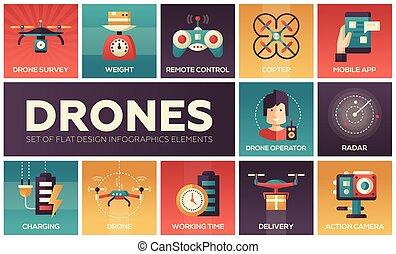 drone, -, conjunto, de, plano, diseño, infographics, elementos