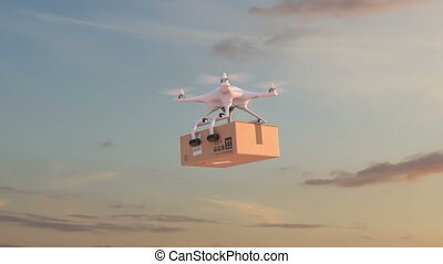Drone deliver a parcel against time-lapse sky background. 3d...