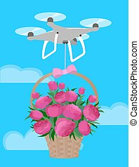 Drone deliver gift basket pink peonies bouquet Valentine Day love romantic present confession. Quadcopter quadrocopter fly blue sky shipping flowers cartoon vector illustration