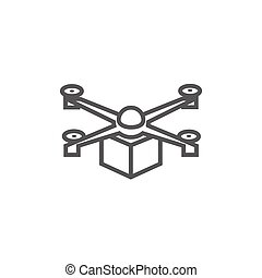 Drone delivering package line icon. - Drone delivering a ...