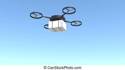 Drone delivering post package on blue sky