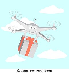 Drone delivers funny gifts. Series cartoon Drones