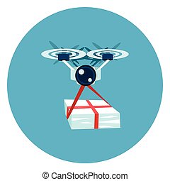 Drone Delivery Icon Web Button On Round Blue Background