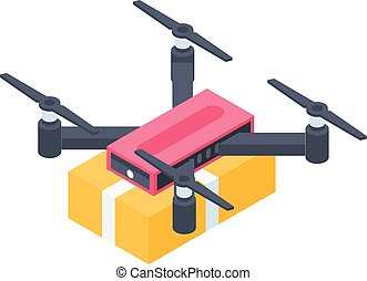 Drone delivery parcel icon, isometric style