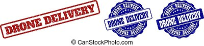 DRONE DELIVERY Scratched Stamp Seals
