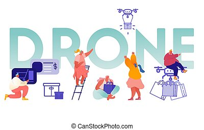 Drone Delivery Service Concept with People Controlling Quadcopter. Man and Woman Characters Buying Online. Technology Control Flight of Copter. Aircraft equipment for videography. Vector Illustration