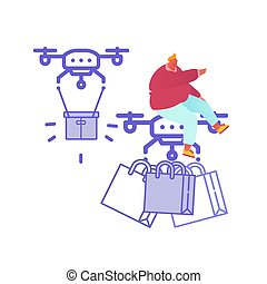 Drone Delivery Service Concept with People Controlling Quadcopter. Man Character Shopping Online. Technology Control Flight of Copter. Aircraft equipment for transportation. Vector Illustration