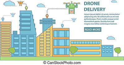 Drone delivery vector horizontal banner in flat linear style