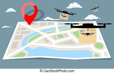 Drone delivery with the package box flying over folding map paper. Flat color vector illustration.