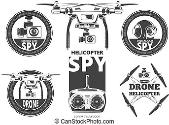 drone - Vector set of drone flying club labels, badges and...