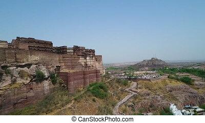 Mehrangarh Fort overlooking Jodhpur - Drone, exterior, ...