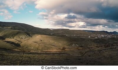 drone fast pan landscape panorama.