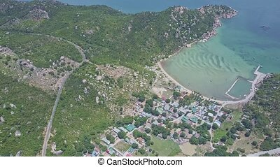 Drone Flies above Road Small Village Washed by Azure Ocean -...