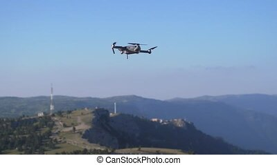 Drone flies in the beautiful mountains. slow motion. - Drone...