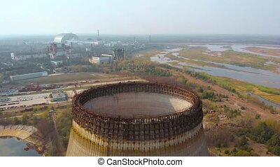 Drone flies over cooling tower near Chernobyl NPP - Drone...