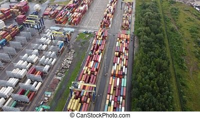 Drone flies over the port of the container terminal in Saint-Petersburg