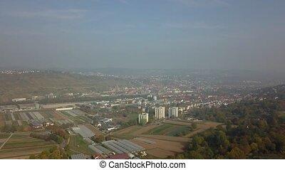 Drone flight from Ostfildern towards Esslingen near...