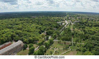 Drone flight over buildings of Chernobyl city - Aerial shot...