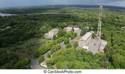 Drone flight over city hall building of Chernobyl - Aerial...