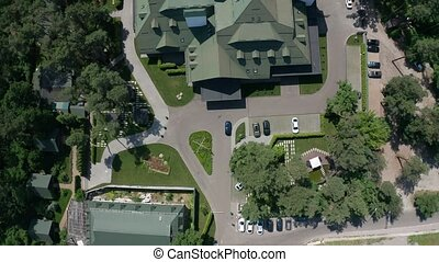 Drone flight over modern country hotel complex - Aerial view...