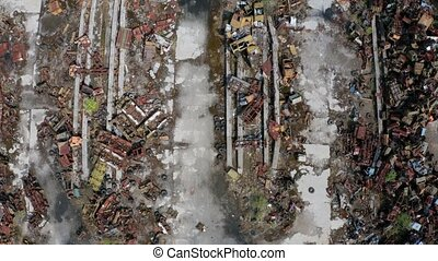 Drone flight over rusty metal grabage in Chernobyl - Aerial...