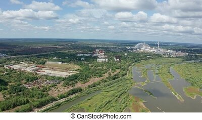 Drone flight over territory of former power plant - Aerial...