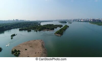 drone flight over the river. beautiful small islands