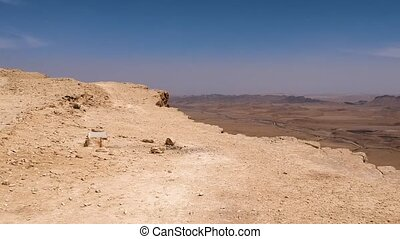 Drone fly over the edge at Makhtesh Ramon crater - Drone...
