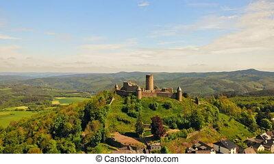 aerial view on castle in nuremberg germany medieval fortified buildings on a sandstone ridge