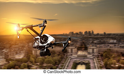Drone flying above Paris city panorama in blur motion