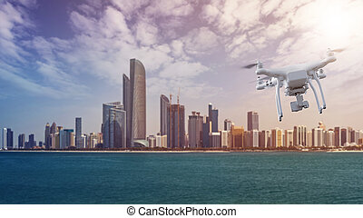 Drone flying in front of the Abu Dhabi Skyline