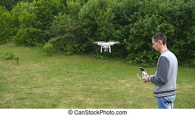 Drone flying in slow motion