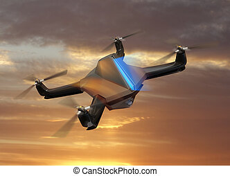 Drone flying in sunset sky