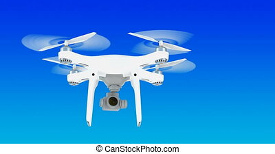 Drone flying in the blue sky, animation.3D rendering