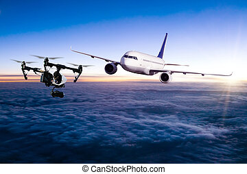 Drone flying near commercial airplane - Drone potentially...
