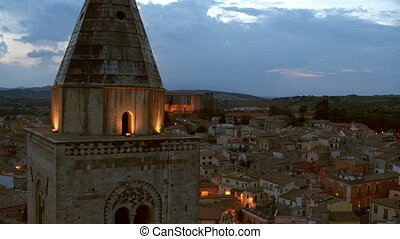 Drone flying over crowded European town, Melfi, Italy - ...