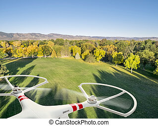 drone flying over park in fall colors under morning light with deep long shadows