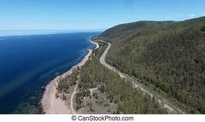drone flying over the forest near Lake Baikal, Buryatia, Russia