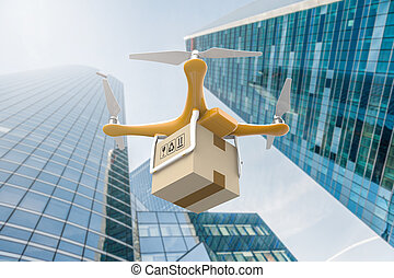 Drone flying with a delivery box package in a city