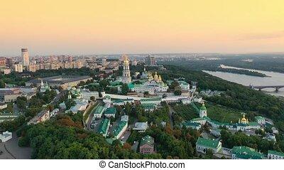 Drone footage Aerial view of Kiev Pechersk Lavra in Kyiv...