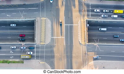 Drone footage city roads. Aerial view.