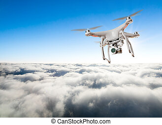 Drone for industrial works flying above clouds. Concept of...