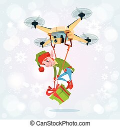 Drone Green Elf Delivery Present, Happy New Year Merry...