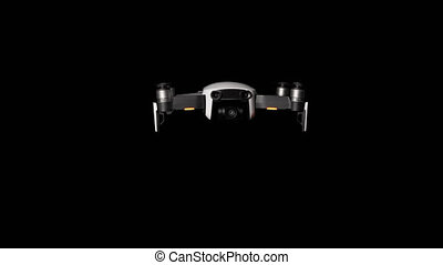 Drone Hovers in the Air on a Transparent Background or an Alpha Channel