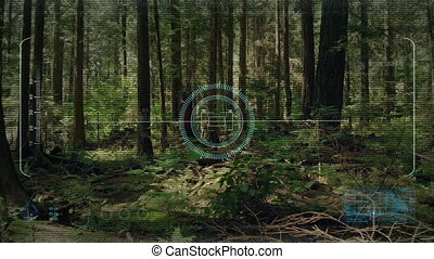 Drone HUD Display Flying In The Forest