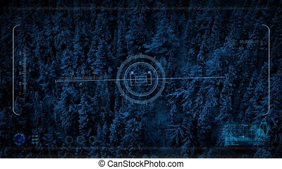 Drone Hud Display Flying Over Snowy Mountainside - Feed from...